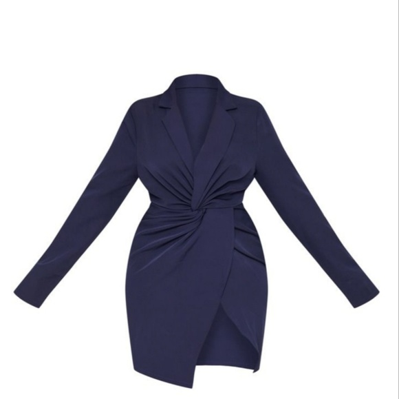 41434f134adb2 PrettyLittleThing Dresses | Plus Navy Knot Detail Wrap Blazer Dress ...